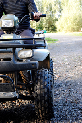A quad bike being ridden