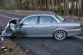 Crashed Jaguar car