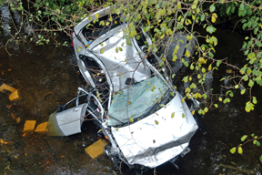 Crashed car in a river
